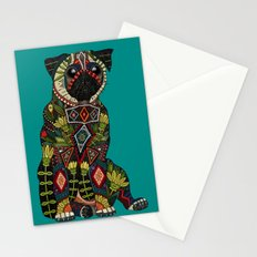 pug love teal Stationery Cards