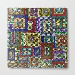 Needlepoint Squares Metal Print