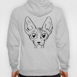 Sphynx Cat Cartoon - Sphynx Cat Drawing - Sphynx Illustration - Black and White - Ink Hoody