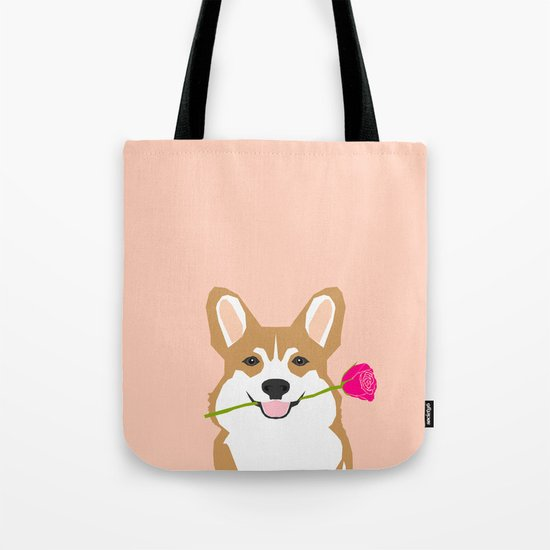 Valentines - Corgi with Rose - Love, Cute Corgi for Corgi Owners, Trendy Girls Love, Valentines Day Tote Bag