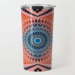Mandala Sacred Geometry Red Blue Travel Mug