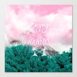 Modern white typography enjoy the journey pink turquoise clouds forest mountain photography Canvas Print