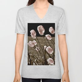 Pink Tulips and Moonlight Unisex V-Neck