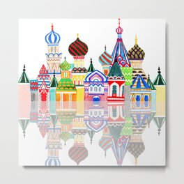 Colorful Home or Nursery Russian Architecture Cathedral Red Square Buildings Middle East Palace Metal Print
