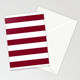 Burgundy - solid color - white stripes pattern Stationery Cards