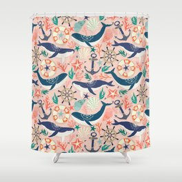 Whale Song on Coral Blush Shower Curtain