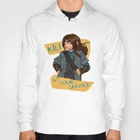 kili Hoodies featuring Kili at Your Service by Hattie Hedgehog
