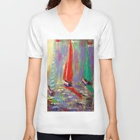 boats V-neck T-shirts featuring sail boats by Michael Anthony Alvarez