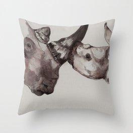 Rhino Love Throw Pillow