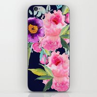 craftberrybush iPhone & iPod Skins featuring Floral blue by craftberrybush