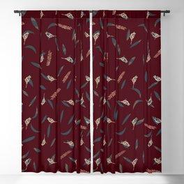 Primitive Birds and Leaves Pattern on Warm Crimson Color Blackout Curtain