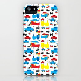 Cute Colorful Planes, Trains and Cars Pattern iPhone Case