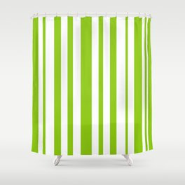 Lime Green and White Stripes Minimalist Color Block Pattern Shower Curtain