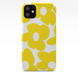 Large Yellow Retro Flowers on White Background #decor #society6 #buyart iPhone Case