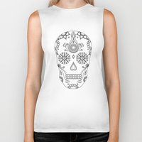 sugar skull Biker Tanks featuring Sugar skull by Anna Lindner