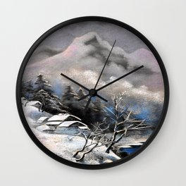 Winter village in the mountains Wall Clock