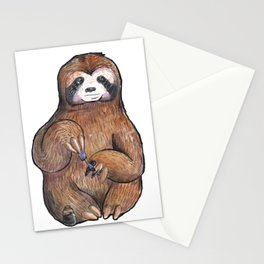 sloth painting nails Stationery Cards