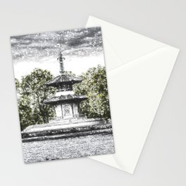 The Pagoda in the snow Stationery Cards