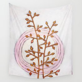 Gold Branches Pink Circles Wall Tapestry
