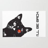 terminator Area & Throw Rugs featuring Cat Terminator by VINSPIRO