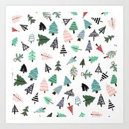 Cute whimsical Christmas trees pattern illustration Art Print