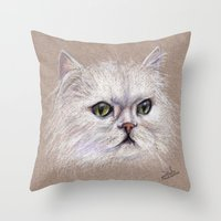 persian Throw Pillows featuring Persian cat by Pendientera