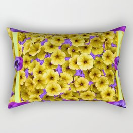 YELLOW PETUNIAS & LILAC PURPLE PANSIES FLORAL Rectangular Pillow