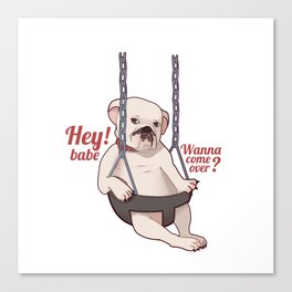 Seductive Dog On A Swing Canvas Print