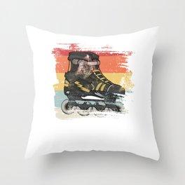 Retro roller skate gift for skater Throw Pillow