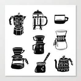 Coffee linocut square pattern coffee lover minimal black and white printmaking gift Canvas Print
