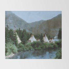 Blackfoot Camp Up the Cutbank in Montana Throw Blanket