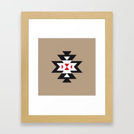 Navajo Aztec Pattern Black White Red on Light Brown Framed Art Print