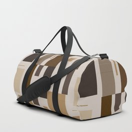 Retro Squares in Browns and Golds Duffle Bag
