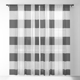 western country french farmhouse black and white plaid tartan gingham print Sheer Curtain