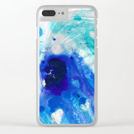 Modern Abstract Art - Blue Marble by Sharon Cummings Clear iPhone Case