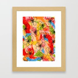 Hibiscus Family no.1 hibiscus illustration flower pattern floral painting nursery room decor Hawaii Framed Art Print