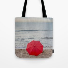 Red Umbrella lying at the beach III Tote Bag