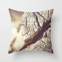 Cracked log Throw Pillow