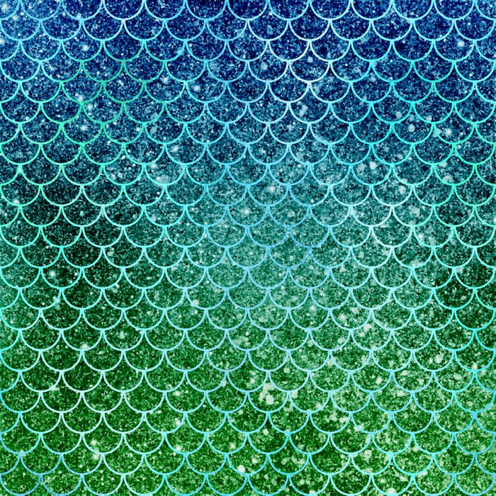 Mermaid Blue & Green Glitter Ombre Scales Comforters