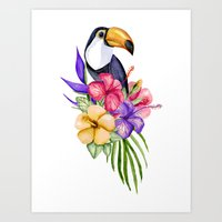 toucan Art Prints featuring Toucan by Julia Badeeva