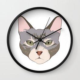 Green eyed kitty Wall Clock