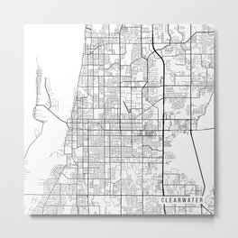 Clearwater Map, USA - Black and White Metal Print