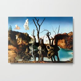 Salvador Dali Swans Reflecting Elephants 1937 Artwork for Wall Art, Prints, Posters, Tshirts, Men, Women, Kids Metal Print