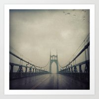 marc johns Art Prints featuring St. Johns Bridge by Leah Flores