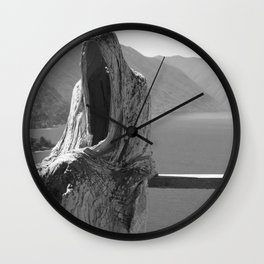 Lake Como, Ghost Sculpture over looking Italian Lake black and white photograph / art photography Wall Clock