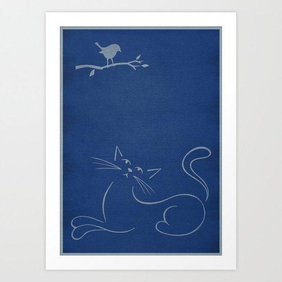 Cat & Robin Art Print
