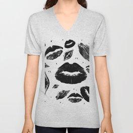 Kisses All Over (Black & White) Unisex V-Neck