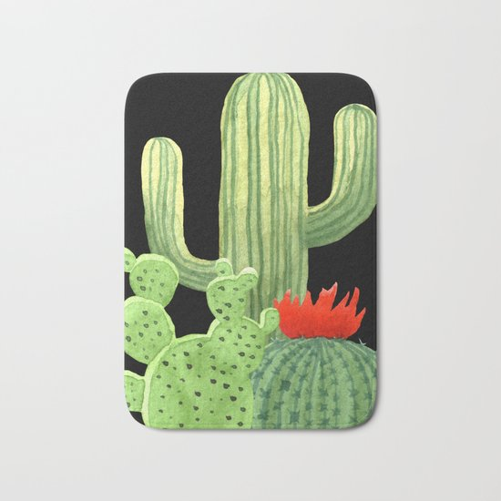Perfect Cactus Bunch on Black Bath Mat