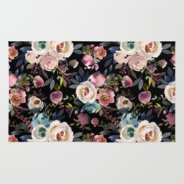 Blush pink teal lilac ivory watercolor modern roses Rug
