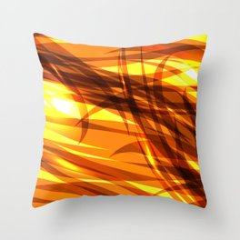 Saturated gold and smooth sparkling lines of metal ribbons on the theme of space and abstraction. Throw Pillow